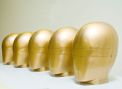 Modelos de Cabeças produzidas com base em dados antropométricos. Foto: SizeChina