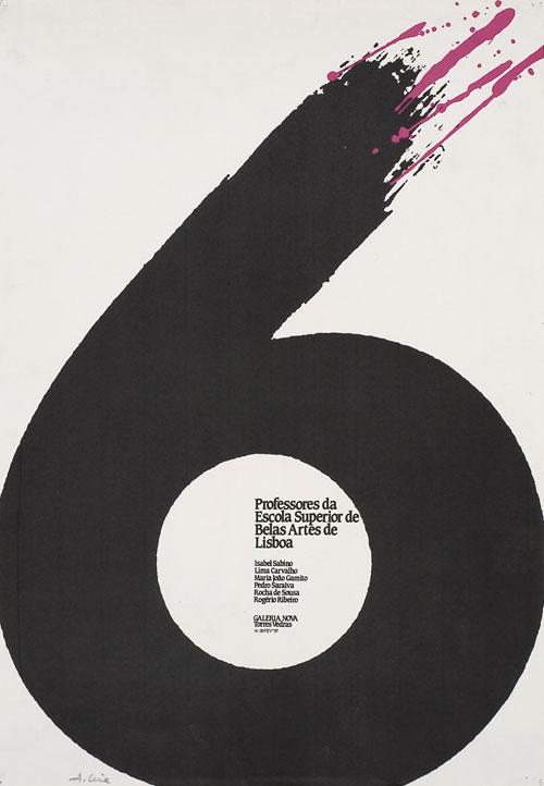 """Cartaz Exposição """"6 Professores da ESBAL"""" Galeria Nova, Torres Vedras, 1987"""